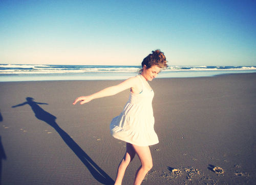 beach, blue sky, brown, coast, dance, dress