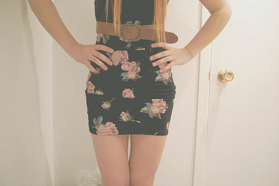 bandage skirt, belt, blonde hair, body con, bodycon, floral, girl, skinny, skirt, thin