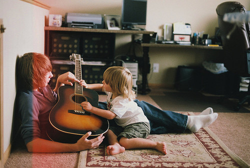 bonding, boy, cute, dad, guitar, music