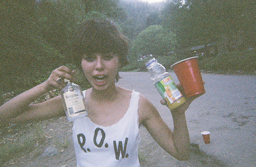 cool, drinks, drugs, drunk, girl, hair, photography, pow, road, skinny, stoned, street