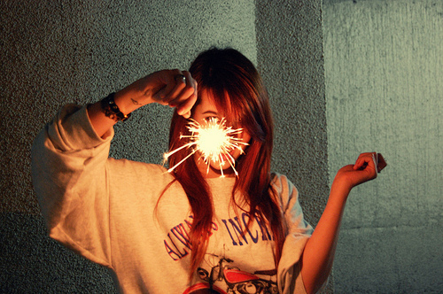 cute, fireworks, girl, hair, light, photography, sparks, vic hollo