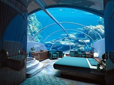 aquarium, bed, bedroom, blue, coral, marine, ocean, room, sea, underwater, water