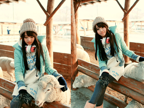 asian, asian fashion, brunette, cirl, clothes, cute, fashion, hair, korean, sheep, sweet, tiny