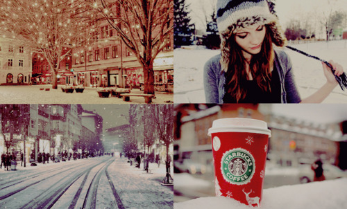 coffee, cold, girl, hat, red, snow