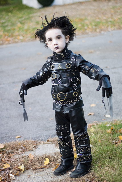 costume, cute, edward scissorhands, halloween, johnny depp, kid
