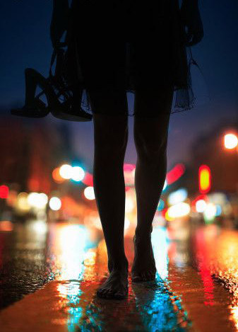 barefoot, city, color, foot, girl, legs, night, shoes, street, woman
