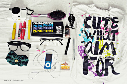 brush, camera, colour, cute, earphones, fashion