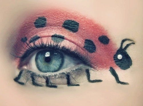 cute, eye, ladybug, make up, red