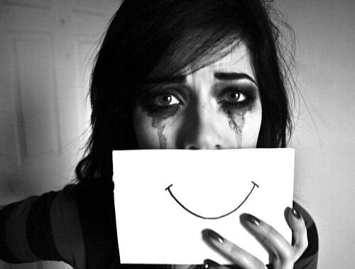 black & white, cry girl, depressed, emotive, fake smile, girl