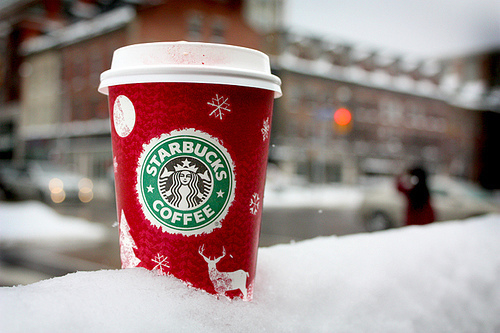 chic, christmas, coffee, cold, pretty, snow