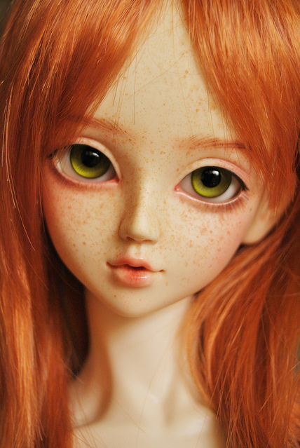 ball jointed doll, bjd, dollfie, freckles, ginger, girl