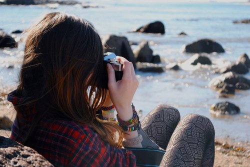 beach, camera, girl, hair, photograph, photography