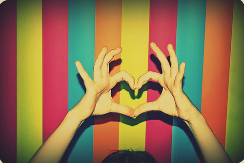 blue, colorful, green, heart, orange, pink