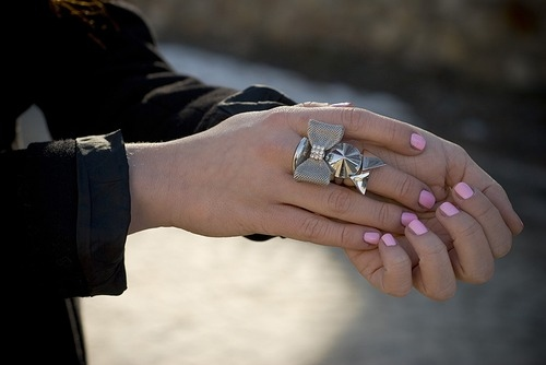 bow, fashion, nails, pink, pink nails , ring