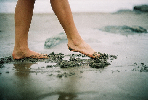 clay, foot, girl, gray, grey, ocean, sand, sea