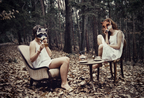 beautifull, beauty, face, fashion, fox, girl, leaves, masks, nature, wald