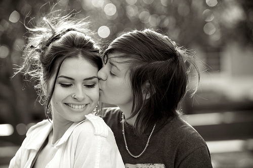black and white, cute, girls , kiss, lesbian, lesbians