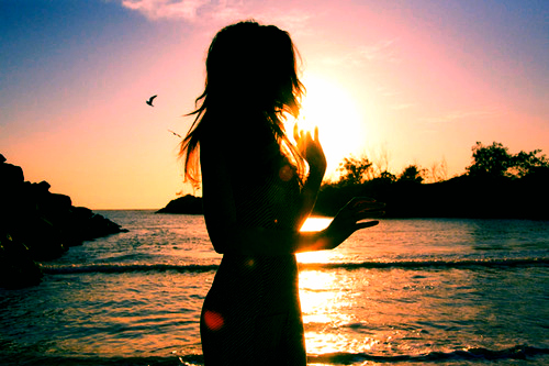 beach, girl, sillhouette, summer, sun, sunset, water