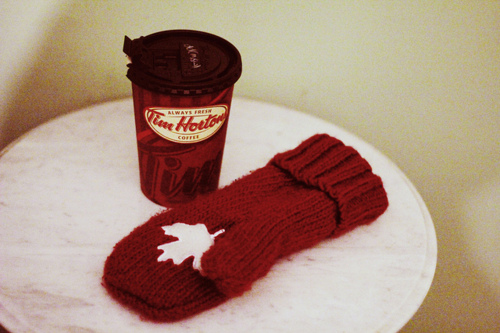 canada, canadian, horton, olympic red mitten, tim, tim hortons