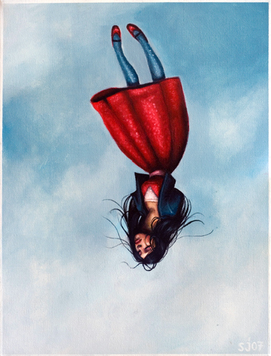 art, blue, drawing, falling, girl, illustration, let go, red, red dress, sky