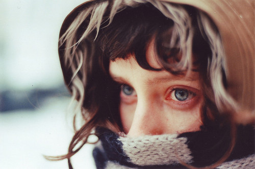 bangs, blue eyes, brunette, coat, cold, cute