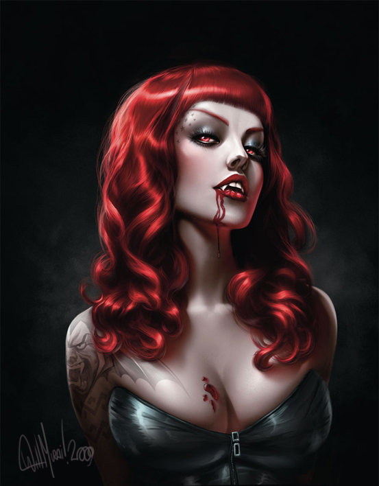 beauty, blood, illustration, red hair, tatoo, vampire