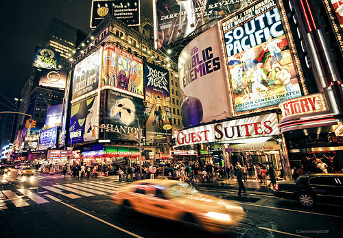 broadway, city, lights, new york, new york city, night, times square