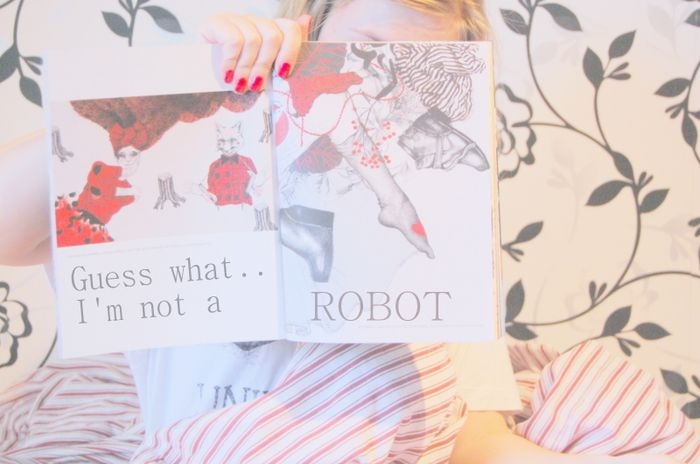 flower, girl, photograpy, red, robot, text