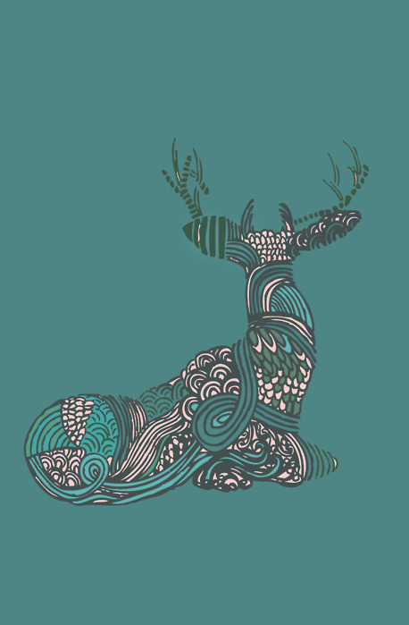 antler, art, christmas, deer, green, illustration, reindeer, stag