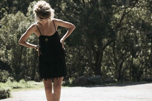 black dress, dress, fashion, girl, gypsy, headband, hippy, lovely, photography, skinny, summer, sun, trees