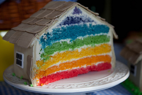 cake, colorful, cute, house cake, rainbow cake