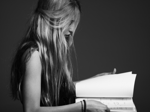 art, beautiful, black an white, blonde, book, eyes