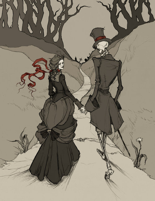 beauty, bones, couple, dark, goth, illustration