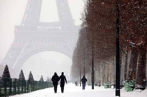 eiffel tower, paris, romantic, snow, winter