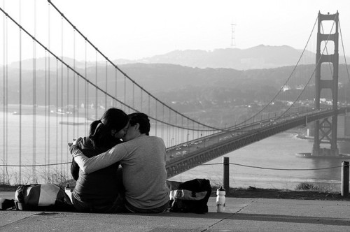 black, bridge, couple, cute, kiss, klee