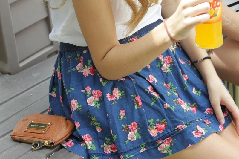 blond, blue, bottle, bracelet, drink, flower print