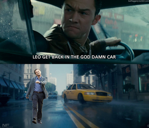 funny, inception, joseph gordon-levitt, leonardo dicaprio, lol, meme