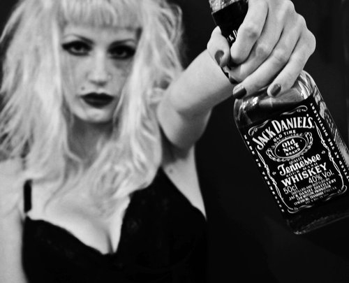 beauty, black and white, blonde, drink, girl, jack daniels
