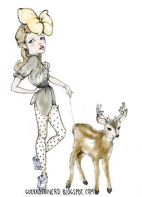 bow, cute, deer, drawing, fashion, girl
