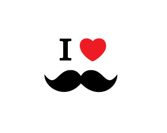design, funny, graphic, heart, i heart, mustache