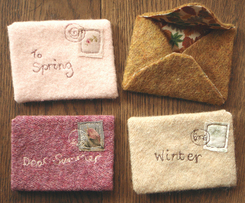 envelopes, felt, letters, pretty, stamp, textiles