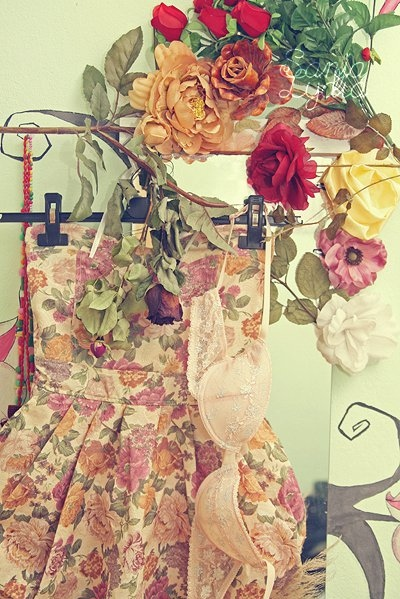 adorable, bra, cute, dress, floral, flowers