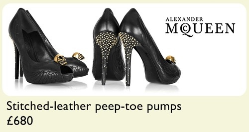 alexander mcqueen, fashion, gold, gothic, heels, high heels, leather, skulls, studs