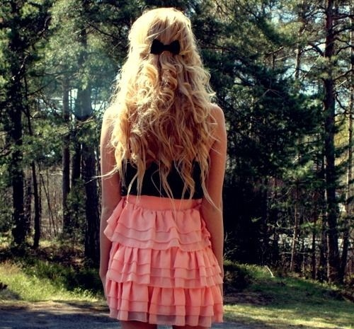 bow, curls, fashion, forest, girl, hair, haircut, pretty, ruffles, skirt, trees