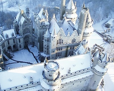 castle, fairytale, snow, white, winter