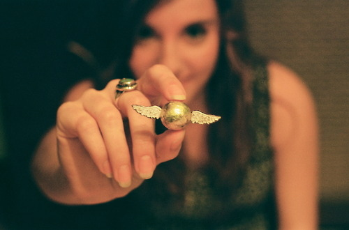 excitement, fashion, focus, girl, golden snitch, harry potter