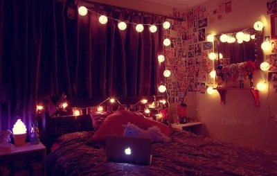 bed, college, cute, dorm room, laptop, lights