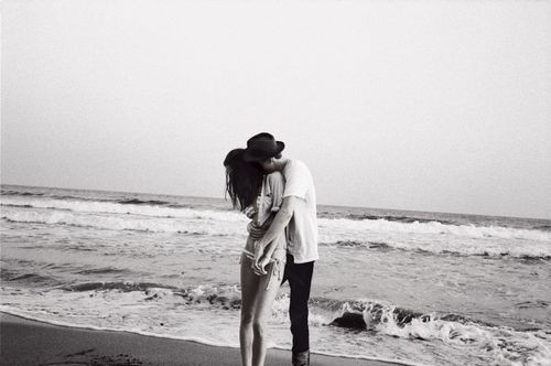 beach, black and white, boy, couple, girl, love
