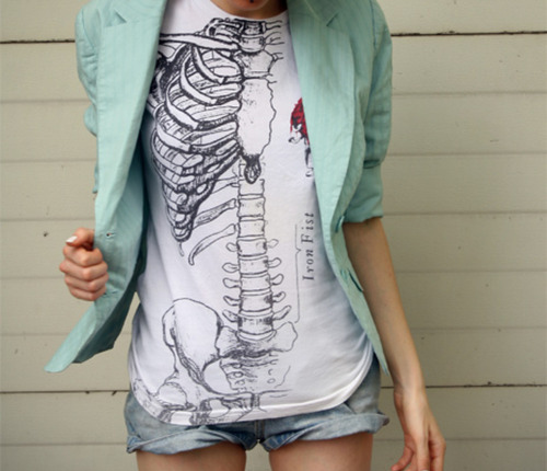 blazer, blue, fashion, girl, shorts, skeleton