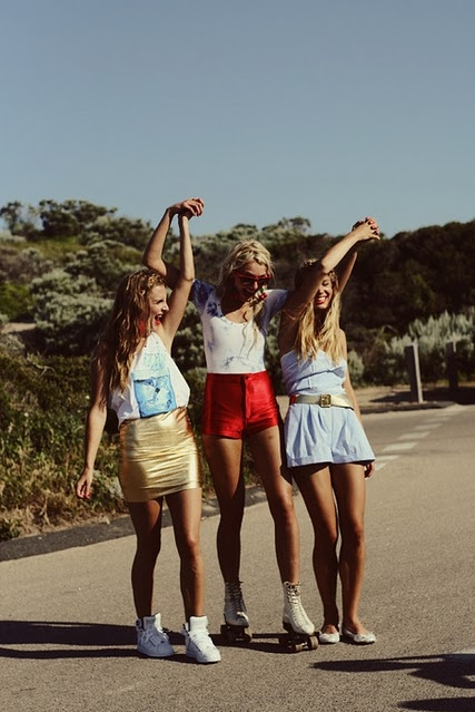 blonde, friends, girl, girls, hair, hands, long, pretty, shorts, three girls
